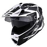 1Storm Dual Sport Motorcycle Motocross Off Road Full Face Helmet Dual Visor Storm Force Black, Size L