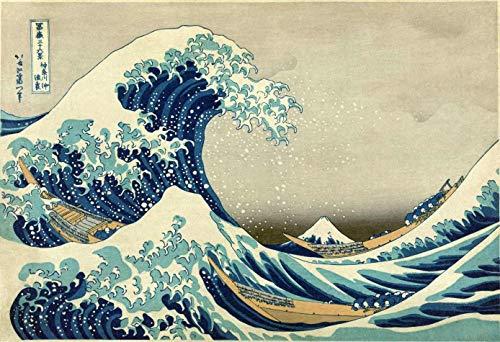 A grande onda de kanagawa - katsushika hokusai - 60x88 - tela em canvas para quadro