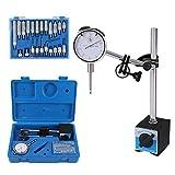 Dial Indicator with Magnetic Base Holder Fine Adjustable Long Arm 0-1' Tester Gage Gauge 0.001'