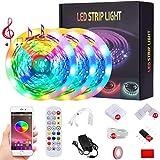 50ft Led Strip Lights Music Sync Color Changing 5050 RGB LED Light Strips Kit, Built-in Mic,App...