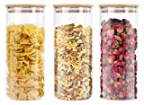 Lawei 3 pack Glass Storage Jars with Sealed Bamboo Lids - 51 oz Clear Glass Bulk Food Storage Canister for Serving Tea, Coffee, Spice, Candy, Cookie