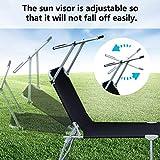 VINGO Sonnenliege 2er Set, hoch, klappbar, Gartenliege mit verstellbarem Sonnendach, aus rostfreiem Stahl, atmungsaktiv für Camping Freizeit Garten Strand,bis 110 kg belastbar, Schwarz - 6