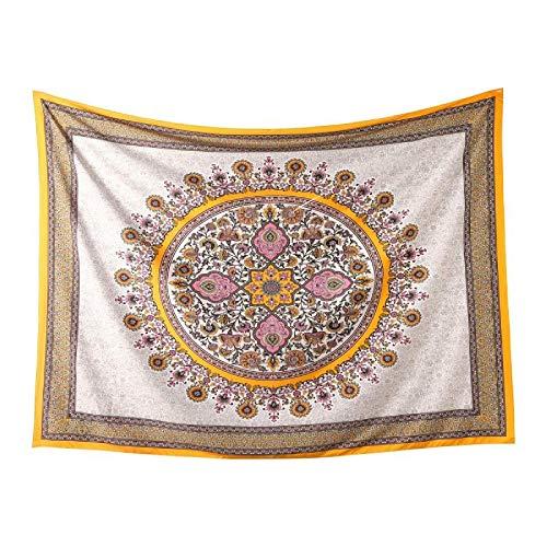 NO BRAND Tapiz Antecedentes de la técnica Sol de la India Tapiz sudeste de Asia Religión Tapiz de decoración del Dormitorio del hogar del Arte (Color : Yellow, Size : 1.48 x 2.0m)