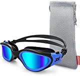 ZIONOR Swim Goggles, G1 Polarized Swimming Goggles UV Protection Leakproof Anti-Fog Adjustable Strap for Adult Men Women (Polarized Lens Black Blue) (Misc.)