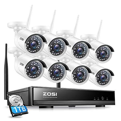 ZOSI WiFi Video Surveillance Kit 1080P 8CH H.265 + 1TB NVR 8pcs 2MP HD, Detección de movimiento, Acceso remoto, Visión nocturna, Alerta por correo electrónico - Sistema de vigilancia inalámbrico para el hogar y el trabajo