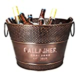 BREKX Personalized Old Tavern Copper-Finish Beverage Bucket and Wine Chiller, Ice and Drink Bucket, 15 Quarts