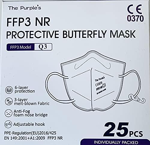 Mascarilla FFP3 NR Homologada - The Purple´s - Pack 25 ud. CE-0370,...