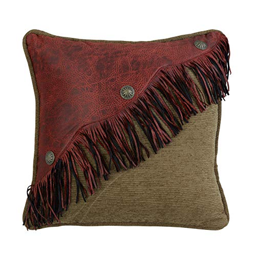 HiEnd Accents San Angelo Western Leather Fringe Pillow, Red