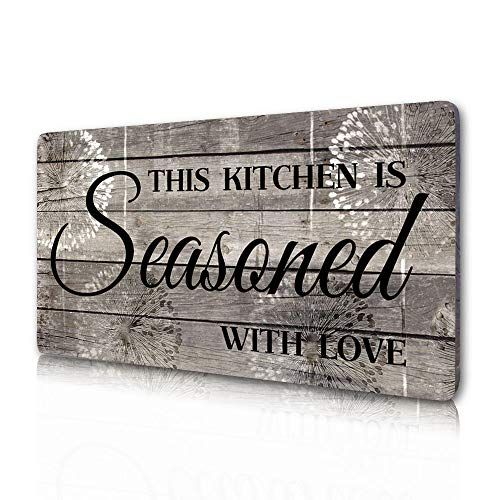 Rustic Kitchen Decorations Wall Art, Farmhouse Kitchen Decor-This Kitchen is Seasoned with Love-Printed Wood Plaque...