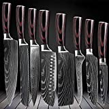 D&G 8 Piece Kitchen Chef 8 inch Kitchen Knife Set Japanese Stainless Steel Damascus Laser Pattern, 8 inch 8 pc Chef Knife Set