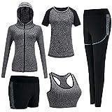 BOTRE Vêtement de Sport Yoga Costumes Femme 5 Pièces Ensembles Sportswear...