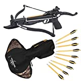 Southland Archery Supply Prophecy 80 Pound Self-Cocking Pistol Crossbow with Cobra System Limb (Black with Bag and Extra Arrows)
