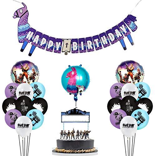 Suministros para fiestas de cumpleaños para fanáticos de los juegos, Favores de fiesta temáticos de videojuegos - Globo, pancarta, decoraciones de pastel para cumpleaños de jugador