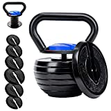Time wave 10-40LBS Adjustable Kettlebell Weights Sets for Men Women Home Fitness Gym Equipment, Cast Iron Kettle Bell Set for Exercises, Weightlifting, Conditioning, Strength and Core Training (Blue)