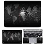 Techfit Full Body 4 in 1 Laptop Skin Wrap (Top, Bottom, Inside, Trackpad Protector) Cover Decal for MacBook Air 13 Inch (for 2018 -2020 Release) - World Map Black