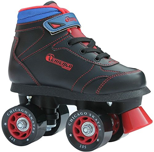 Chicago Boys Sidewalk Roller Skate - Black Youth Quad Skates - Size J12