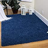 Ottomanson Cozy Color Solid Shag Contemporary Living and Bedroom Soft Shaggy Kids Area Rug, 3'3' x 4'7', Navy