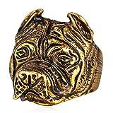 Bulldog Ring for Men, Viking Pitbull Ring, Gothic Bulldog Pug Dog Head Ring, Vintage Dog Totem Amulet Ring, Punk Animal Dog Jewelry for Men Boys, Pet Lovers Gifts (Gold, 7)