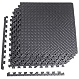 CAP Barbell 6-Piece Puzzle Exercise Mat, Black, 1/2' Thick