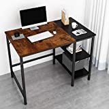 JOISCOPE Home Office Computer Desk,Small Study Writing Desk with Wooden Storage Shelf,2-Tier...