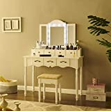 Fineboard, White Makeup Vanity Set with LED Lights and Tri Folding Mirror Dressing Table with 7 Small Drawers & Stool