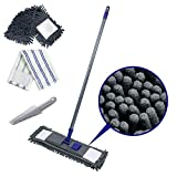 Flat Floor Cleaning Mop with 2 Reusable Mop Refills Chenille Dusting Mop for Wet Dry Use with Cleaning Scrub Comb