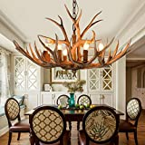 Retro Resin Antler Chandelier 6 Antler Ceiling Lamp Country Style Antler Chandelier for Living Room Bar Cafe Restaurant E12 Lamp Holder (Without Light Source) (Brown)