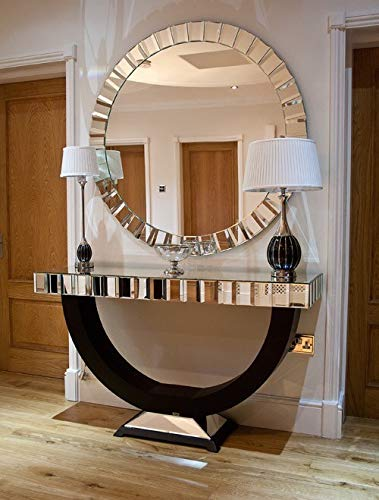 Venetian Image Modern Mirror with Console Table (Silver, 48x30x16Inch)