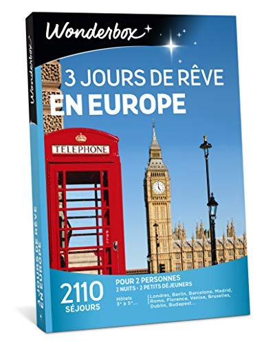 Wonderbox - Coffret cadeau - 3 JOURS DE REVE EN EUROPE - 2110 séjours en...