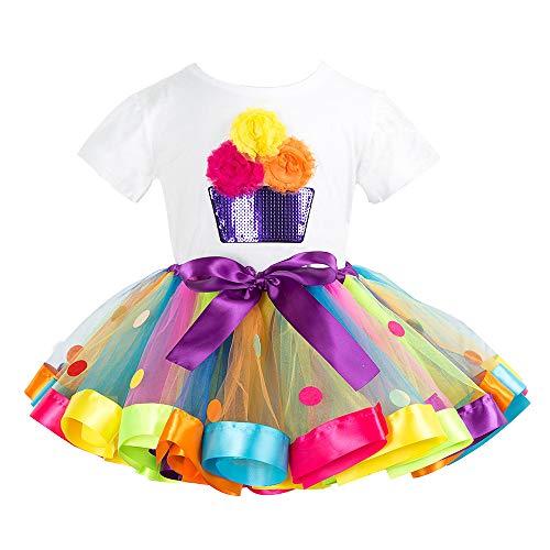 Bambini T-Shirt Tutu Gonna 2 Pezzi Torta di Compleanno Maglietta Principessa Vestito Cotone Set di Outfit 2-3 Anni