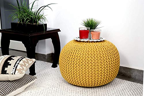 Rishal 100% Cotton Cable Style Pouf for Living Room (40x40)(Yellow)