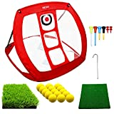 Pop Up Golf Chipping Net   Perfect Golf Gifts for Men Kids, Outdoor Indoor Mini Putting Green Golfing Target Accessories Backyard Practice Swing Funny Game with 15 Training Balls and Two Hitting Mats