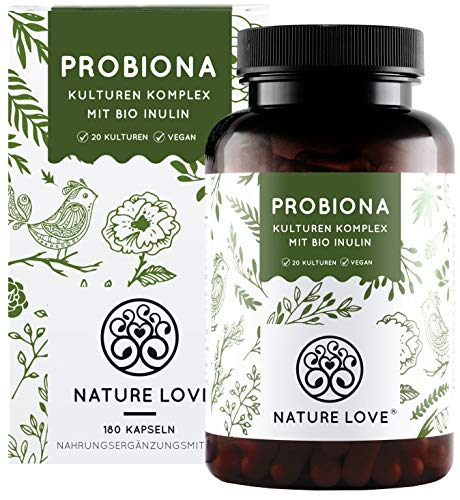 NATURE LOVE® Probiona Komplex - 20 Bakterienstämme + Bio Inulin - 180 magensaftresistente DRCaps® Kapseln - 2X hochdosiert: 20 Mrd KBE je Tagesdosis - Vegan, in Deutschland produziert