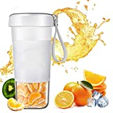 Personal Portable Cordless Juicer, Small 10oz Juice Cup Smoothie Maker With USB Rechargeble Fruit Juicer Mixer for Travel,Office (White)