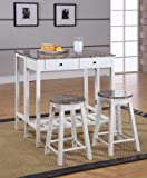 King's Brand 3 Pc. White Finish Wood Drop Down Table & 2 Stools