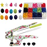 KAMsnaps Starter Case: Heart / Star / Round KAM Snaps Press Pliers for Plastic Snaps No-Sew Buttons Fasteners Setter Hand Tool for Clothes, Cloth Diapers, Bibs (Floral Organizer)