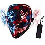 Depointer Halloween Scary Mask Cosplay Led Costume Mask EL Wire Light up Halloween Festival Party,Blue/Red