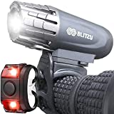 BLITZU Bike Lights Set USB Rechargeable Gator 320 Lumens Powerful Front and Back Light Bicycle Accessories for Night Riding, Cycling Headlight Tail Rear Reflectors for Kids, Road, Mountain Bike