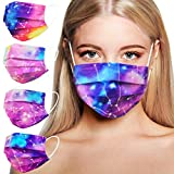 Disposable Face Masks for Women, Disposable Face Masks With Designs, Individually Wrapped Breathable Colorful Fashion Cute Mask with Nose Wire Elastic Ear Loop for Adults Teen Girls Working Out, 3 Ply 50PCS