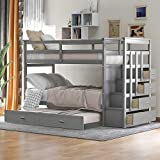 Twin Over Twin Bunk Bed with Trundle and Staircase, Wood Twin Bunk Bed Frame with 4 Storage Drawers and Guardrails, No Box Spring Needed (Gray)