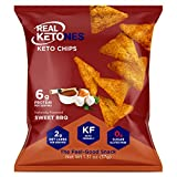 Real Ketones- Keto Protein Chips with MCT, Sweet BBQ Flavor- Low Carb, Sugar-Free Snacks- 4 Pack