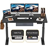FEZIBO Height Adjustable Electric Standing Desk, 55 x 24 Inches Stand Up Desk Workstation, Full Sit Stand Home Office Table with Programmable Preset Controller, Black Frame/Black Top