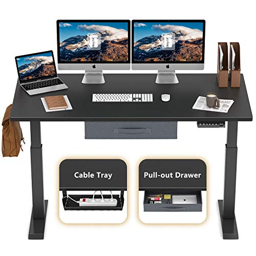 FEZIBO Electric Height Adjustable Standing Desk, 55 x 24 Inches, Black Frame/Jet Black Top