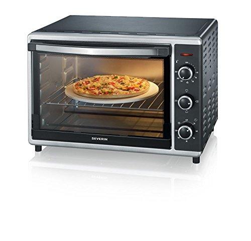SEVERIN Mini-Four à Chaleur Tournante 42 L, Inclus : Tournebroche et Pierre à Pizza (Ø 29cm), Minuteur 120 min, 1 800 W, Noir/Inox, TO 2058