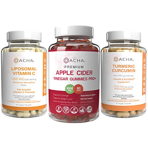 Supreme Immune Boosters, Anti inflammatory Bundle – Apple Cider Vinegar Gummies with Mother, Turmeric Curcumin Standardized, Liposomal Vitamin C Plus Ascorbyl Palmitate, High Potency Natural Pills 1