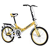 Kairaley 20in Folding Bikes for Adult 7-Speed Compact City Bike Lightweight Mini Bike Urban Commuters Bicycle, Rear Carry Rack, Multiple Colors