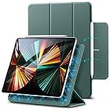 ESR iPad Pro 12.9 ケース 第五世代 5G 2021年モデル 磁気吸着 Apple Pencilのペアリングと充電に対応 オートスリープ ウェイク スリム 軽量 シルク手触り 高級感 三つ折りスタンド リバウンドマグネティックスマートケース(グリーン)