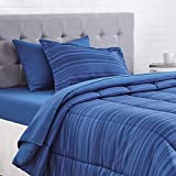 AmazonBasics 5-Piece Light-Weight Microfiber Bed-In-A-Bag Comforter Bedding Set - Twin or Twin XL, Blue Calvin Stripe