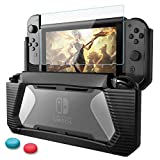 Funda Compatible con Nintendo Switch,HEYSTOP TPU PC Carcasa de Protección con Protector de Pantalla para Nintendo Switch, Anti-Choques/Arañazo (Verde)