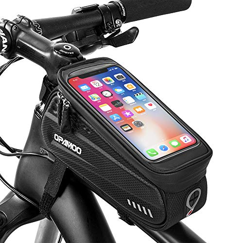 Bike Phone Front Frame Bag - Waterproof Bicycle Top Tube Cycling Phone Mount Pack with Touch Screen Sun Visor Large Capacity Phone Case for Cellphone Below 6.5 iPhone 7 8 Plus xs max